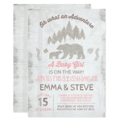 Bear Baby Shower Invitation Girl Adventure Shower