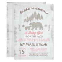 Bear Baby Shower Invitation Girl Adventure Shower
