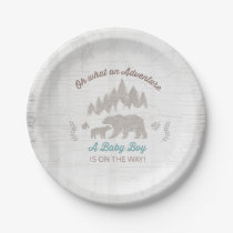 Bear Baby Shower Paper Plate Boy Adventure Shower