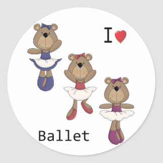 Bear Ballet Classic Round Sticker