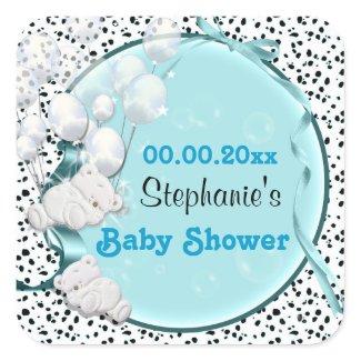Bear balloons baby shower announcement sticker