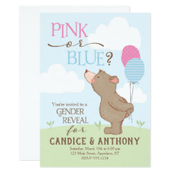 Bear + Balloons Gender Reveal Invitation