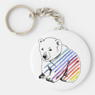 bear basic round button keychain