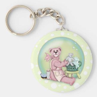 BEAR BATH LOVE Button Keychain