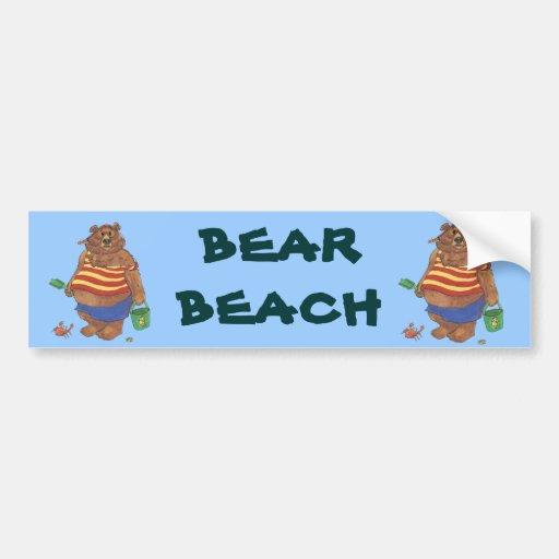 Bear Beach Bumper Sticker