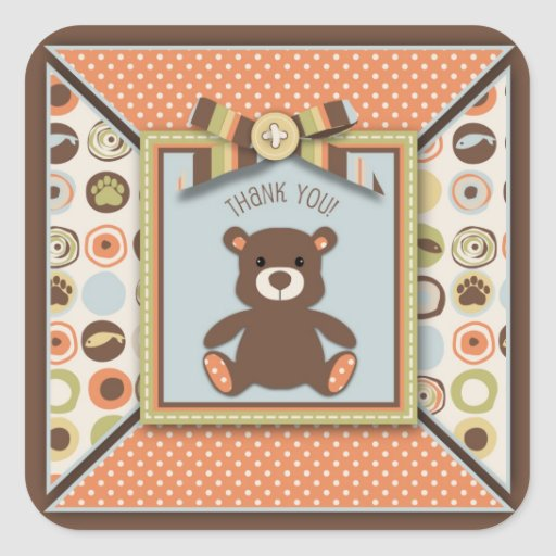 Bear Bear Boy TY Square Sticker