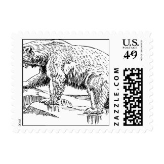 Bear Bears Brown Animal Forest Woodland Tree leaf Postage Stamp