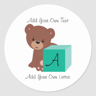 Bear Behind A Green Baby Block Classic Round Sticker