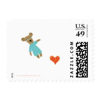 Bear blue heart yellow polka dots Postage