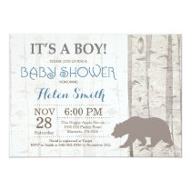 Bear Boy Baby Shower Invitation Rustic Woodland