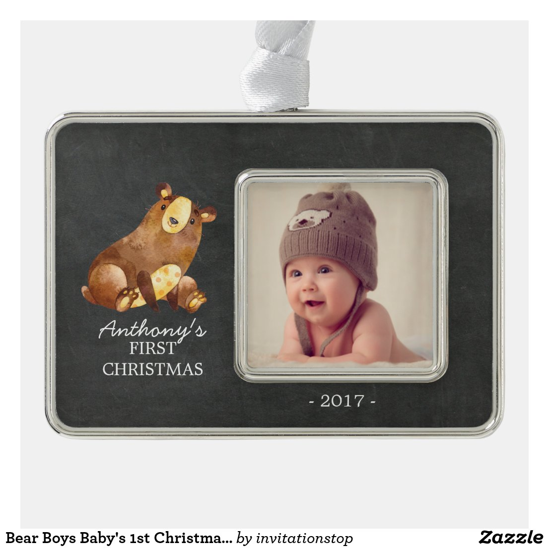 Bear Boys Baby's 1st Christmas Photo Ornament