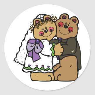 Bear Bride and Bear Groom Classic Round Sticker