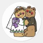 Bear Bride and Bear Groom Round Sticker