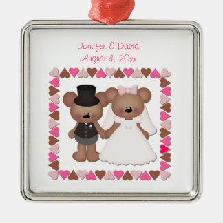 Bear Bride and Groom Square Metal Christmas Ornament