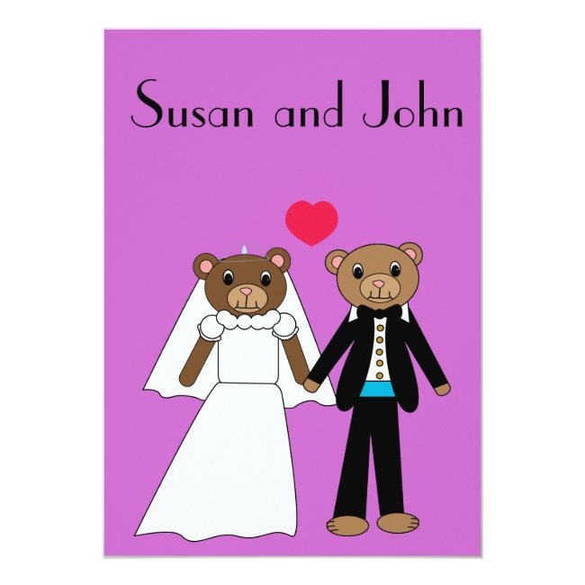Bear Bride and Groom Wedding Invitation
