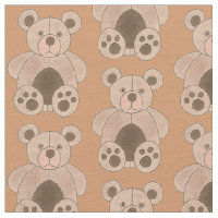 BEAR Brown Tan Teddy Plush Animal Toy Print Fabric