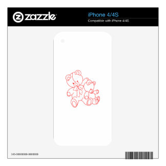Bear Buddies Redwork Skins For iPhone 4