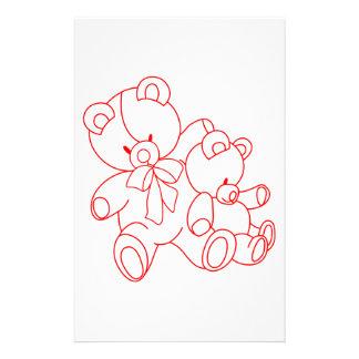 Bear Buddies Redwork Stationery