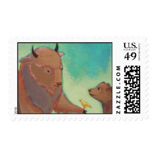 Bear buffalo bird attourney - unique original art postage