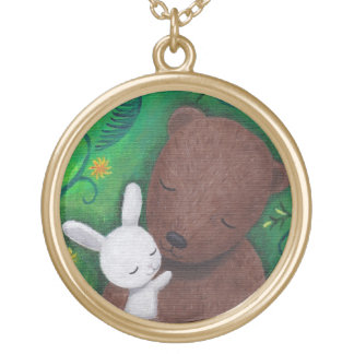 Bear & Bunny I Love You Forever Green Woodland Round Pendant Necklace