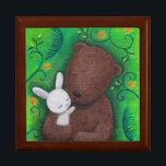 """Bear & Bunny I Love You Forever Sweet Jewelry Box<br><div class=""""desc"""">Bear & bunny I love you forever keepsake box.  Great anniversary/birthday gift for your sweetheart!  Original painting by MiKa Art.  Feel free to customize with your initials,  names,  texts,  date... . etc.</div>"""