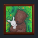 "Bear & Bunny I Love You Forever Sweet Jewelry Box<br><div class=""desc"">Bear & bunny I love you forever keepsake box.  Great anniversary/birthday gift for your sweetheart!  Original painting by MiKa Art.  Feel free to customize with your initials,  names,  texts,  date... . etc.</div>"