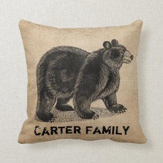Bear Burlap Personalized Throw Pillow