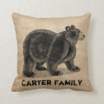 Bear Burlap Personalized Throw Pillows
