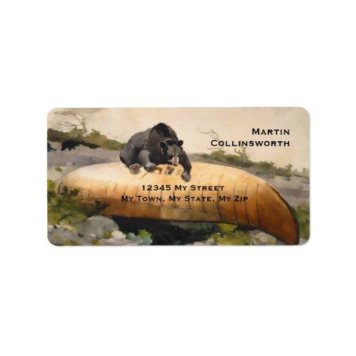 Bear & Canoe Winslow Home 1895 Vintage Address Lab Label