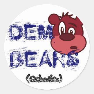 bear-cartoon-1, OSOS del DEM Pegatina Redonda