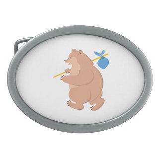 Bear cartoon oval belt buckles