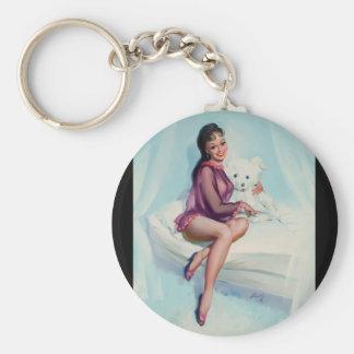 Bear, circa 1960 Pin Up Art Keychain