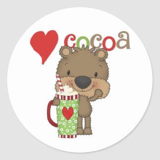 Bear Cocoa Love Holiday Classic Round Sticker