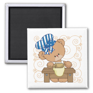 Bear Cook 2 Inch Square Magnet