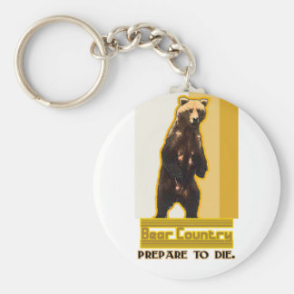 Bear Country Basic Round Button Keychain