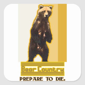 Bear Country Square Sticker