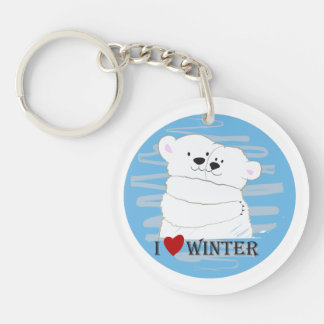 Bear Couple Polar Cute Love Winter Hug Blue Chic Keychain