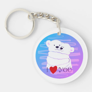 Bear Couple Polar Cute Love Winter Hug Romantic Keychain