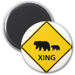 Bear Crossing Highway Sign 2 Inch Round Magnet