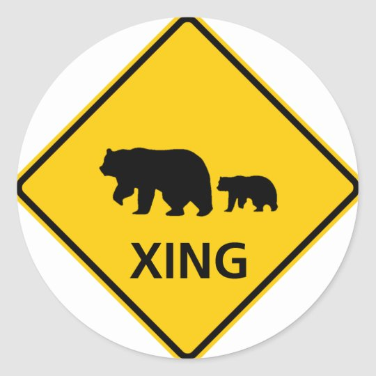 Bear Crossing Highway Sign Classic Round Sticker