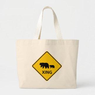 Bear Crossing Highway Sign Jumbo Tote Bag