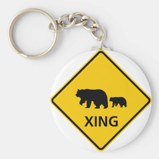 Bear Crossing Highway Sign Keychain