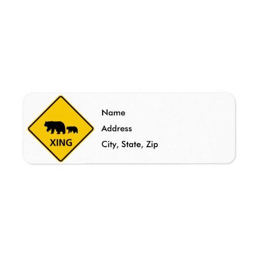 Bear Crossing Highway Sign Label