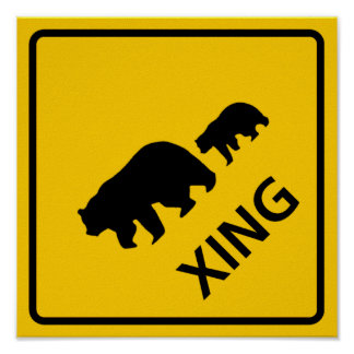 Bear Crossing Highway Sign Poster
