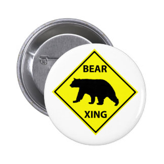 Bear Crossing Sign with Bear Pinback Button