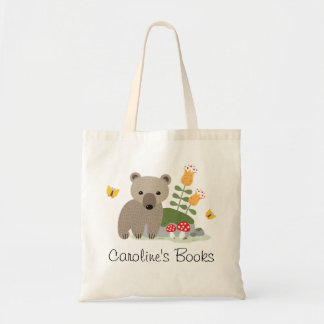 Bear cub and butterflies personalized library book tote bag