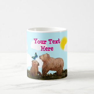 Bear Cub and Mother with Butterfly Coffee Mug