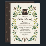 """Bear Cub Baby Shower Card<br><div class=""""desc"""">Woodland themed baby shower design by Shelby Allison featuring an illustration of whimsical green floral designs surrounding a sweet bear cub portrait.</div>"""