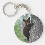 Bear Cub Climbing a Tree Basic Round Button Keychain