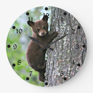 Bear Cub Climbing a Tree Large Clock